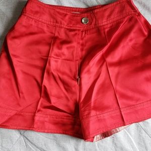 Red Satin High Waisted Hot Pants